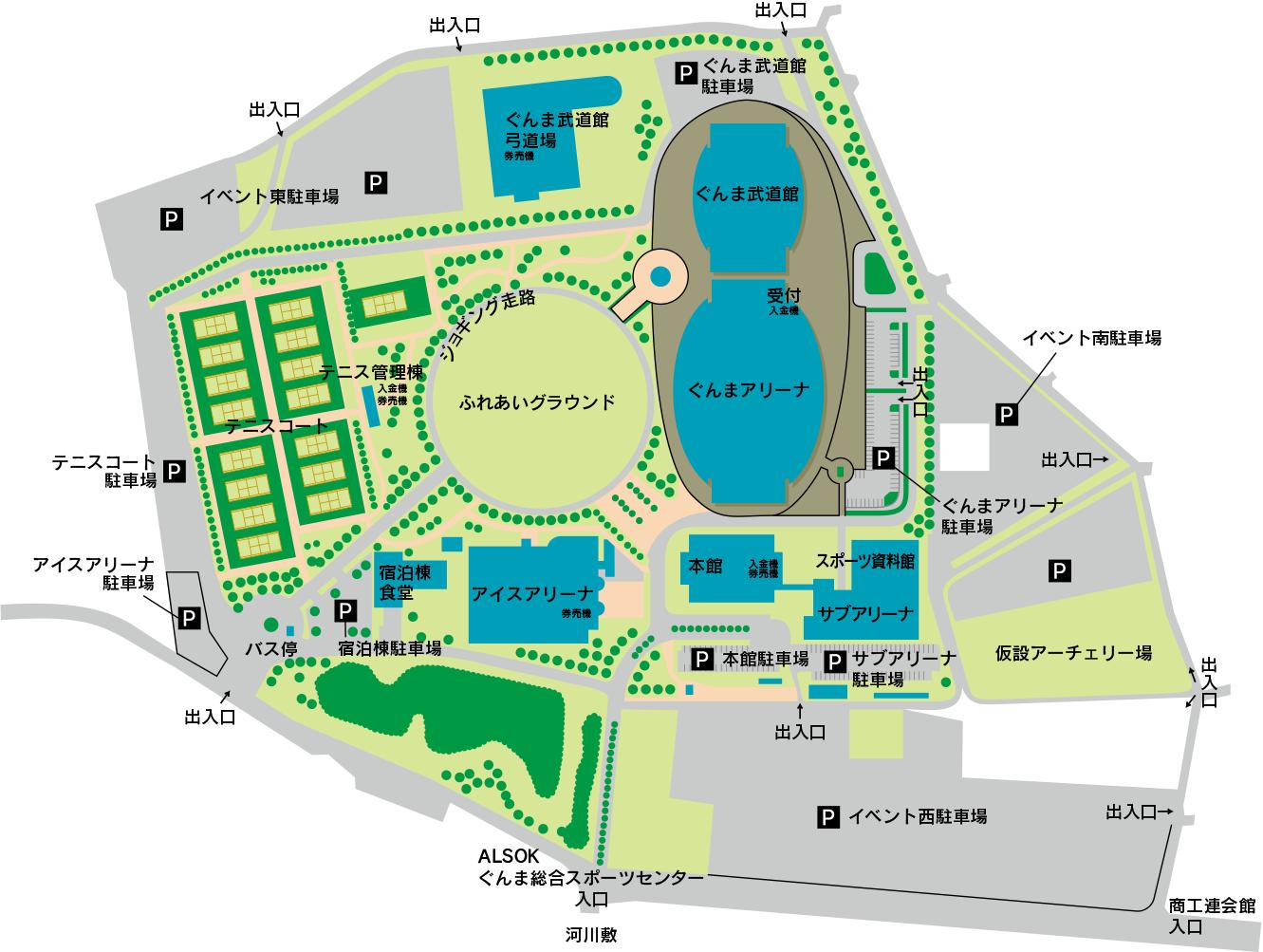 ALSOKぐんま総合スポーツセンター施設マップ