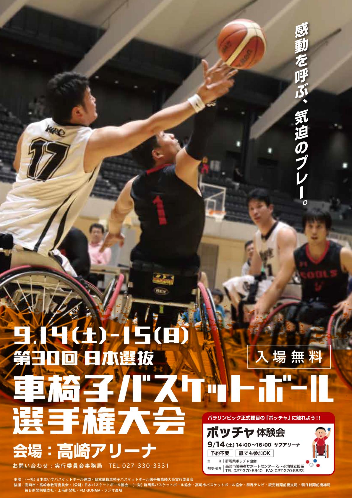 2019年度 第30回 日本選抜車椅子バスケットボール選手権大会 ポスター画像