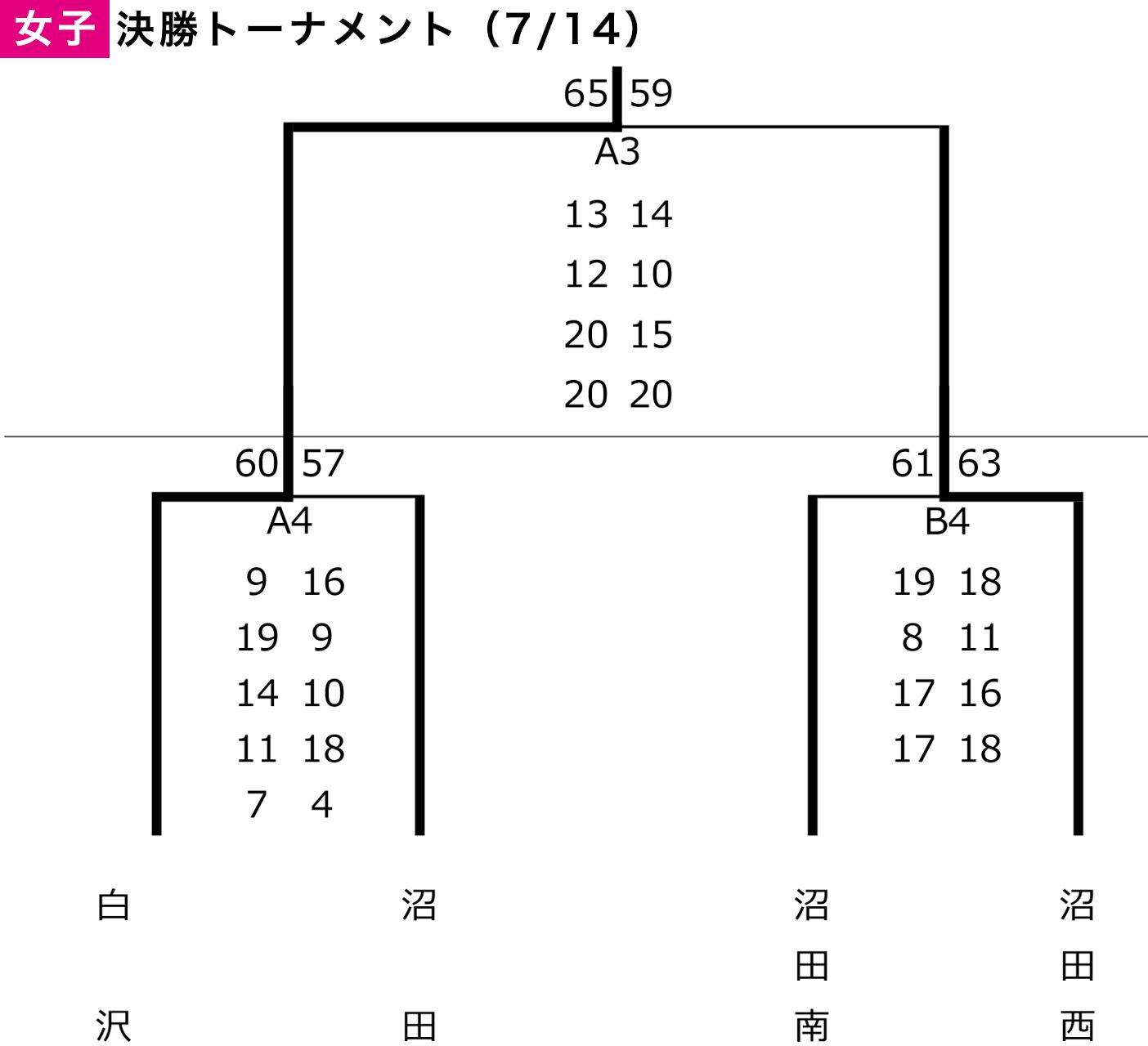 2019年度 沼田市 中学総体 - 大会結果 女子(決勝トーナメント)